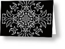 Coffee Flowers 7 Bw Ornate Medallion Greeting Card by Angelina Vick