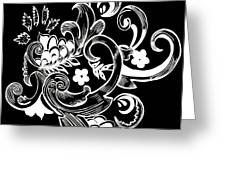 Coffee Flowers 8 Bw Greeting Card