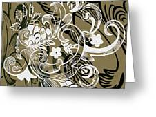 Coffee Flowers 8 Olive Greeting Card