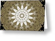 Coffee Flowers 9 Olive Ornate Medallion Greeting Card