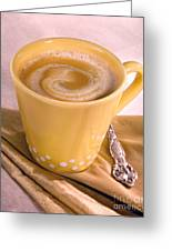 Coffee In Yellow Cup Greeting Card