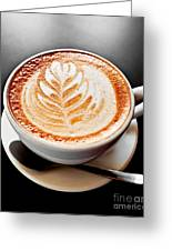 Coffee Latte With Foam Art Greeting Card