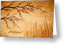 Coffee Painting Cherry Blossoms Greeting Card by Georgeta  Blanaru