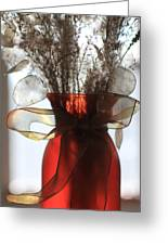Coin Flowers And Red Vase Greeting Card