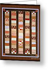 Coin Quilt -  Painting - Brown And White Patches Greeting Card