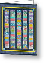 Coin Quilt -  Painting - Multicolors - Borders Greeting Card