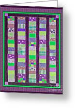 Coin Quilt - Quilt Painting - Purple And Green Patches Greeting Card