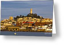 Coit Tower Golden Hour Greeting Card