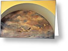 Coit Tower Mural Of Birds In Flight Greeting Card