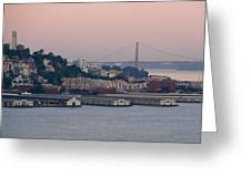 Coit Tower Sits Prominently On Top Of Telegraph Hill In San Francisco Greeting Card