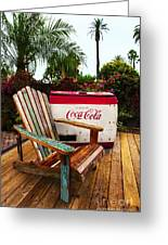 Vintage Coke Machine With Adirondack Chair Greeting Card