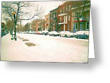 Cold Day In Montreal Pointe St Charles Art Winter Cityscene Painting After Big Snowfall Psc Cspandau Greeting Card