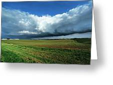 Cold Front Storm Clouds Over Fields Greeting Card