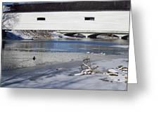 Cold January Morning At The Bridge Greeting Card