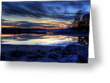 Cold Winter Sunset On The Lake Greeting Card