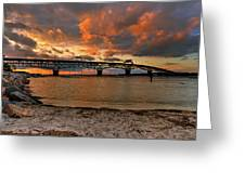 Coleman Bridge At Sunset Greeting Card