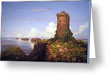 Cole's Italian Coast Scene With Ruined Tower Greeting Card