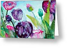 Collecting Pink And Purple Tulips Greeting Card