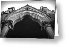 College Hall Entry - Black And White Greeting Card