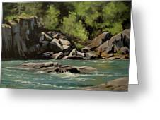 Colliding Rivers Greeting Card
