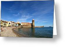 Collioure Beach And Bell Tower Greeting Card