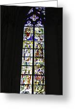 Cologne Cathedral Stained Glass Window Coronation Of The Virgin Greeting Card