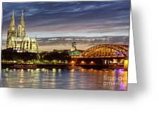 Cologne Cathedral With Rhine Riverside Greeting Card