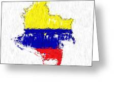 Colombia Painted Flag Map Greeting Card