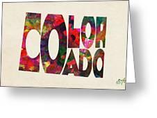 Colorado Typographic Watercolor Map Greeting Card