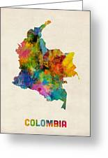 Colombia Watercolor Map Greeting Card