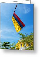 Colombian Flag And Blue Sky Greeting Card