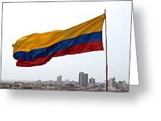 Colombian Flag Over Cartagena Greeting Card
