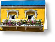 Colonial Balcony In Cartagena Greeting Card