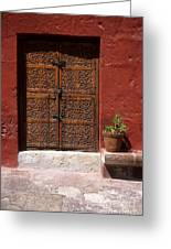 Colonial Door And Geranium Greeting Card