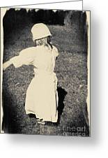 Colonial Girl Playing Greeting Card