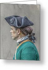 Colonial Soldier Green Jacket Portrait Greeting Card
