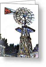 Color Drawing Antique Windmill 3005.05 Greeting Card