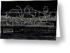 Color Pencil - Visitors On Viewing Plaza On Singapore River Next To The Merlion Greeting Card