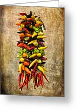 Color Peppers From Spain With Textured Background Dsc01467 Greeting Card