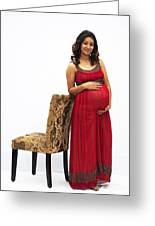 Color Portrait Young Pregnant Spanish Woman Leaning On Chair Greeting Card