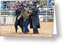 Color Rodeo Shootout Deputies Arrest Outlaw Greeting Card