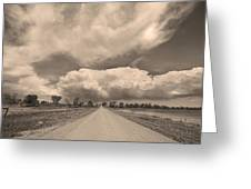 Colorado Country Road Sepia Stormin Skies Greeting Card