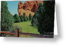 Colorado Garden Of The Gods From The Trail Greeting Card by Robert D  Brozek