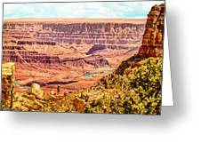 Colorado River One Mile Below And 18 Miles Across The Grand Canyon  Greeting Card
