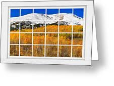 Colorado Rocky Mountain Autumn Pass White Window View  Greeting Card