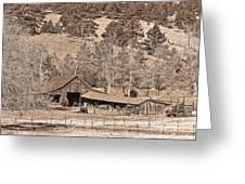 Colorado Rocky Mountain Barn Sepia Greeting Card