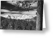 Colorado Rocky Mountain View Black And White Greeting Card