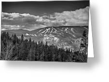 Colorado Ski Slopes In Black And White Greeting Card