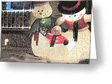 Colorado Snowman Family 2 12 2011 Greeting Card