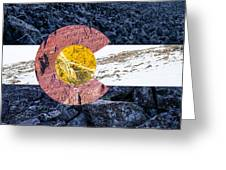 Colorado State Flag With Mountain Textures Greeting Card